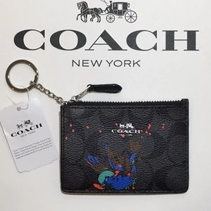 Authentic COACH Leather bird ID/Keychain card hold